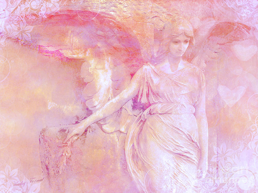 Dreamy Ethereal Angel Photography - Ethereal Pink Angel With White Hearts Photograph By Kathy Fornal