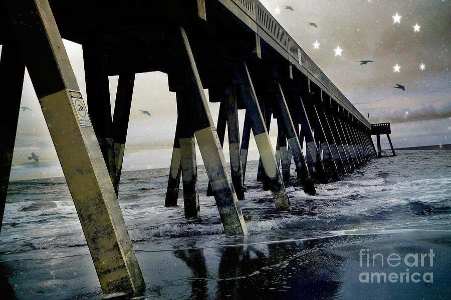Ocean Waves Photograph - Dreamy Haunting Ocean Coastal Pier With Stars And Birds by Kathy Fornal