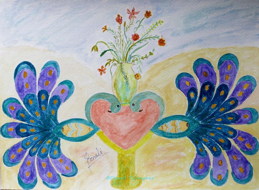 Dreamy Peacocks Painting - Dreamy Heart by Sonali Gangane
