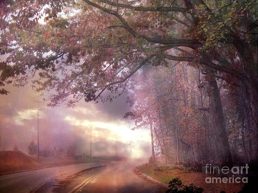 Dreamy Pink Nature Landscape - Surreal Foggy Scenic Drive Nature Tree Landscape  Photograph by Kathy Fornal
