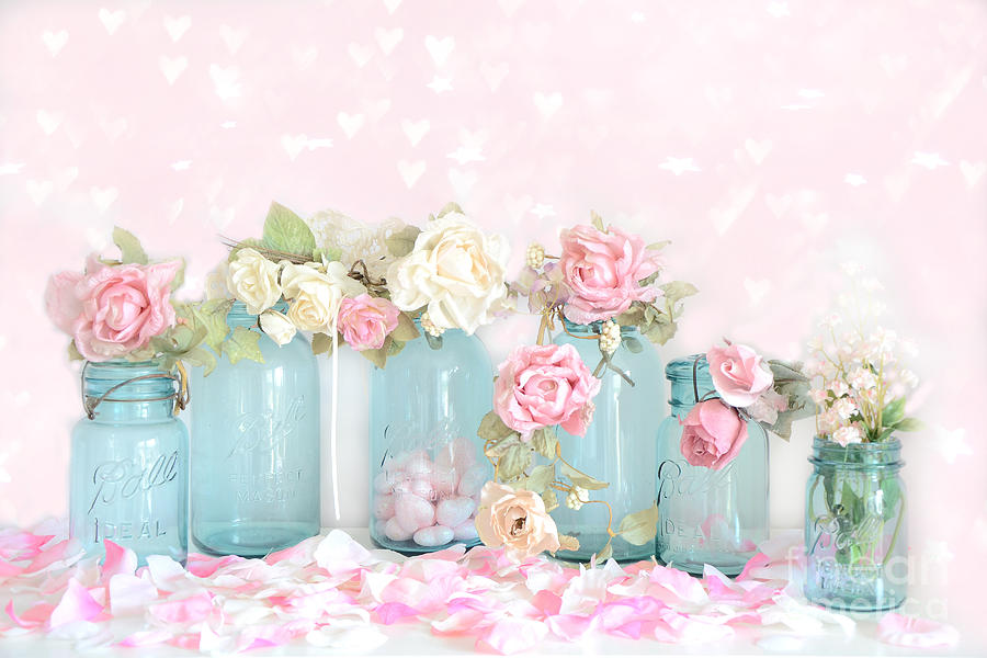 dreamy shabby chic pink white roses vintage aqua teal ball jars romantic floral roses. Black Bedroom Furniture Sets. Home Design Ideas