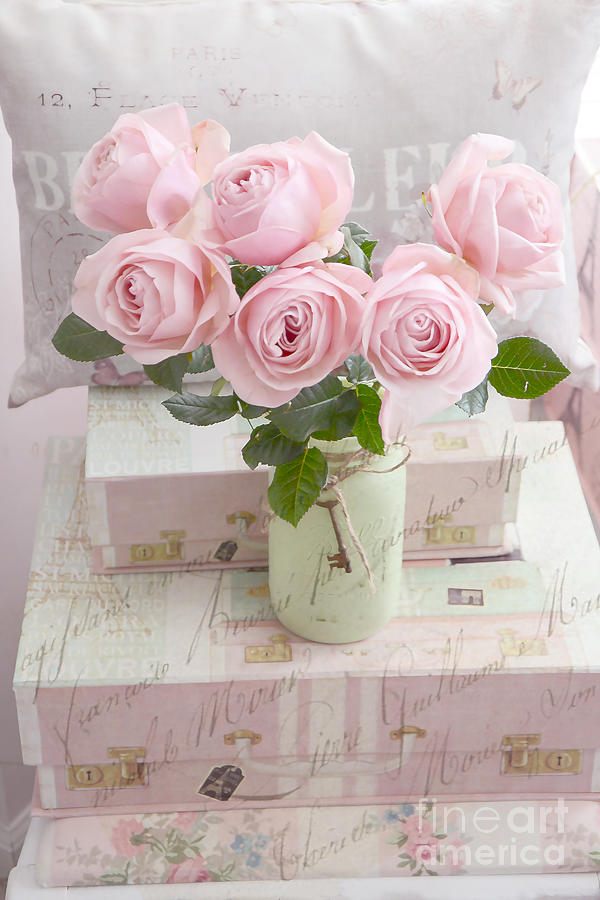 dreamy shabby chic cottage pink teal romantic floral bouquet roses in ball jar shabby chic. Black Bedroom Furniture Sets. Home Design Ideas