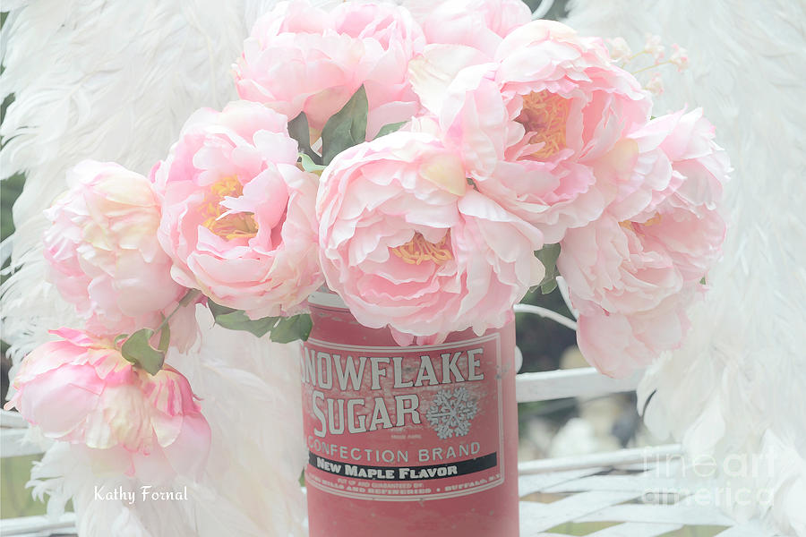 Iphone wallpaper chic - Dreamy Shabby Chic Pink Peonies In Vintage Sugar Bucket