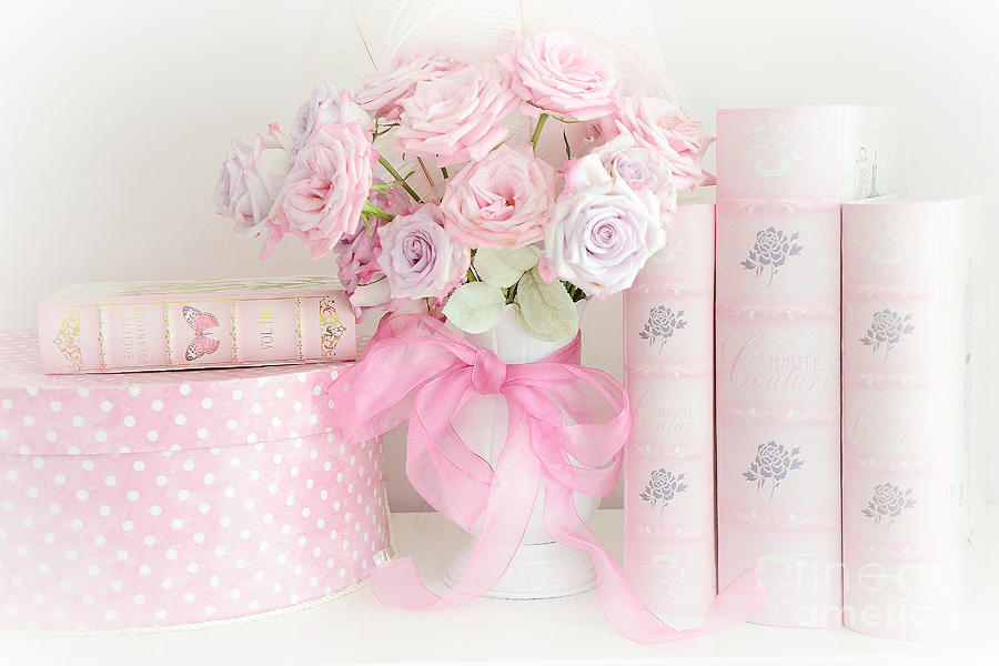 Dreamy Shabby Chic Pink Roses Books Cottage Art