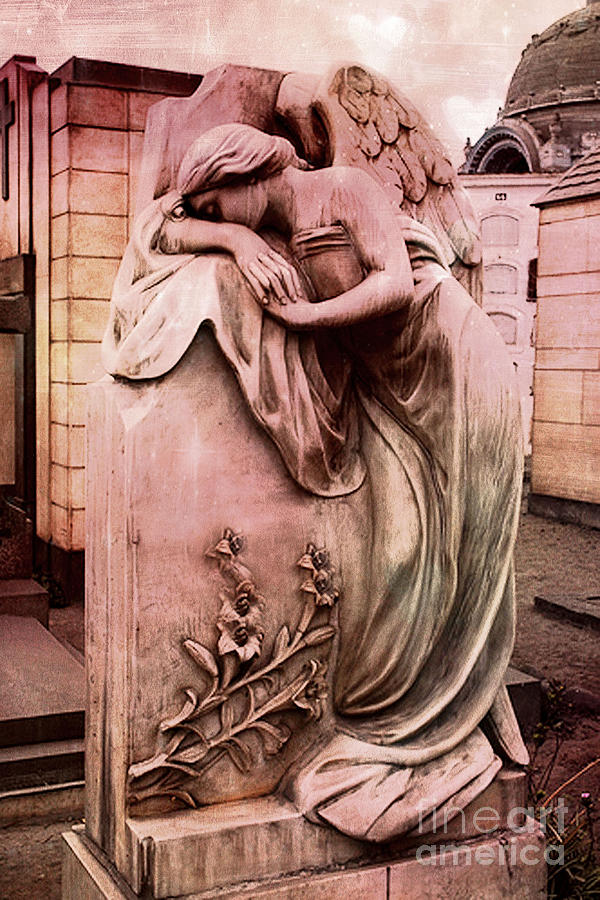 Angel Photograph - Dreamy Surreal Beautiful Angel Art Photograph - Angel Mourning Weeping At Gravestone  by Kathy Fornal