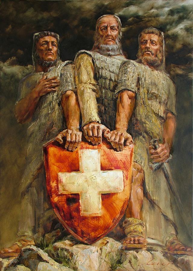 Artwork Painting - Drei Eidgenossen by Andras Manajlo