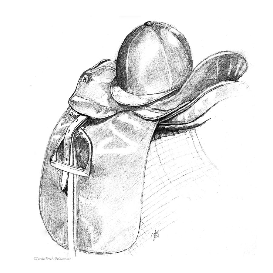 Dressage Saddle and Helmet by Renee Forth-Fukumoto