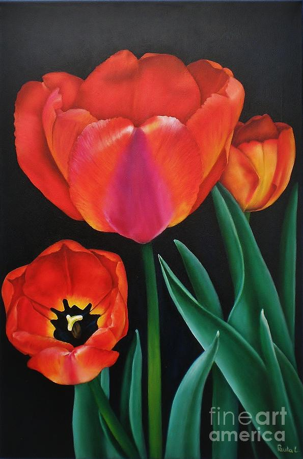 Flower Painting - Dressed In Red by Paula Ludovino