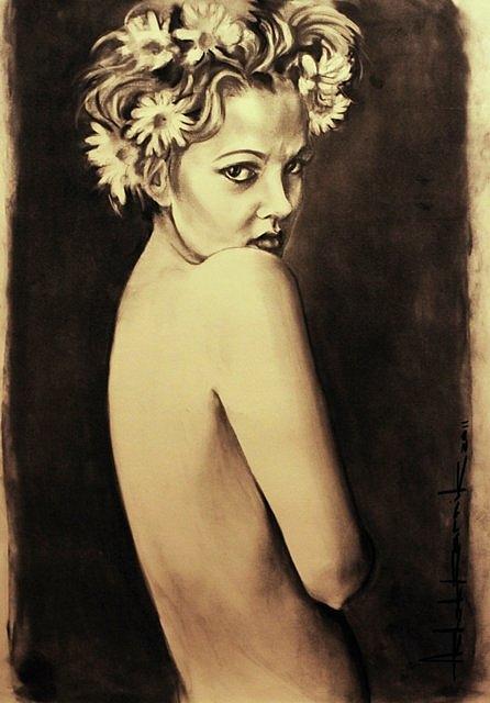 Hollywood Drawing - Drew Barrymore by Ashok Karnik