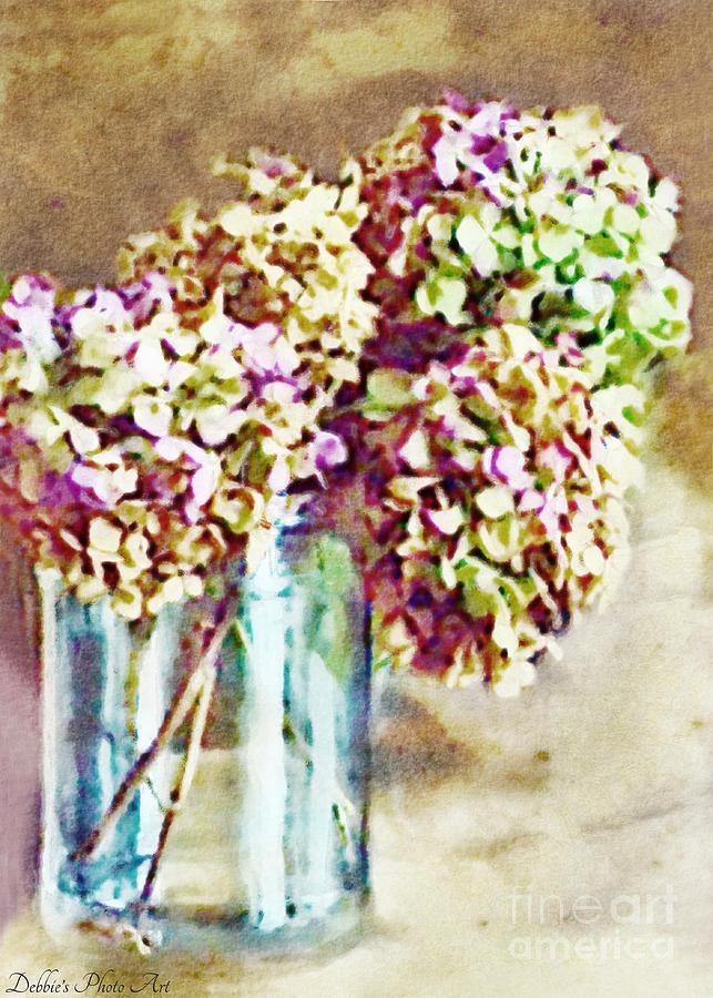 Hydrangea Photograph - Dried Autumn Hydrangeas - Digital Paint by Debbie Portwood