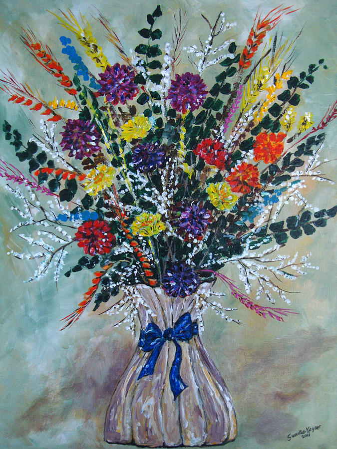 Dried Flower Bouquet Painting by Sandie Keyser