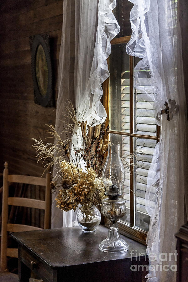 Flowers Photograph - Dried Flowers And Oil Lamp Still Life by Lynn Palmer
