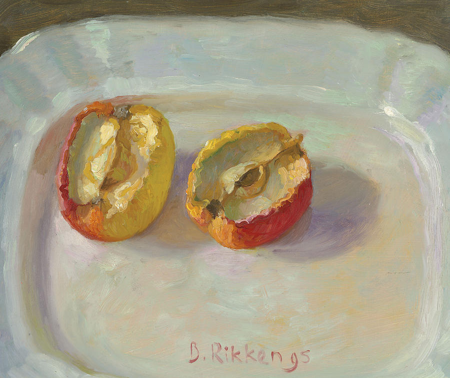 Fruit Painting - Dried Out Apple On A White Plate by Ben Rikken