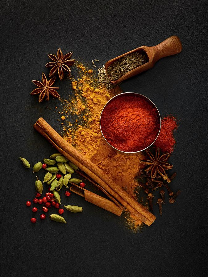 Nobody Photograph - Dried Spices On Black Slate by Science Photo Library