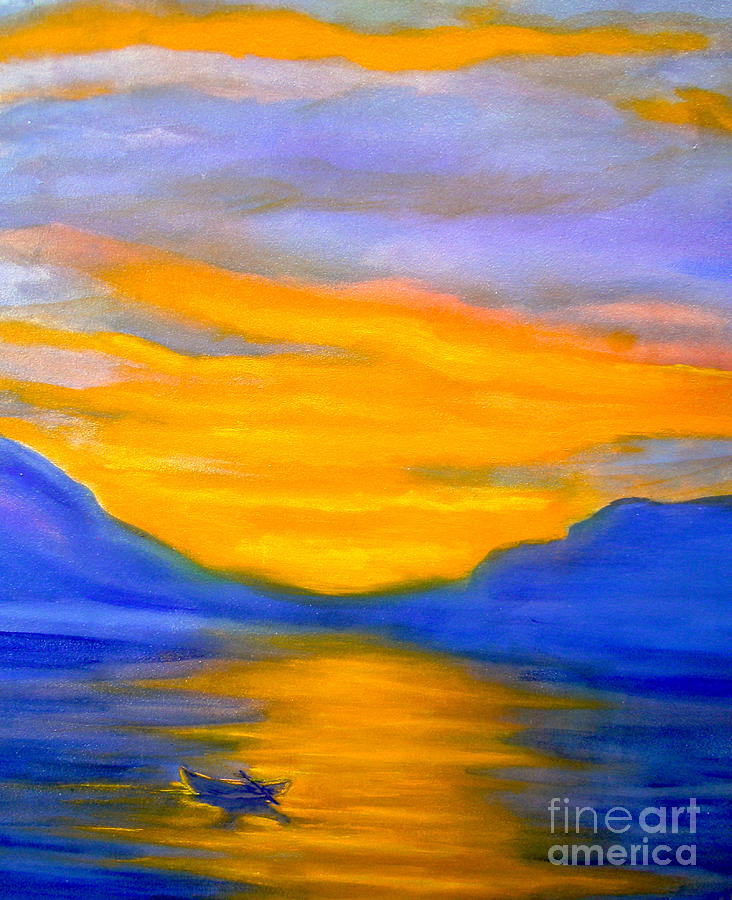 Acrylic Painting - Drifting At Sunset by Nancy Rucker