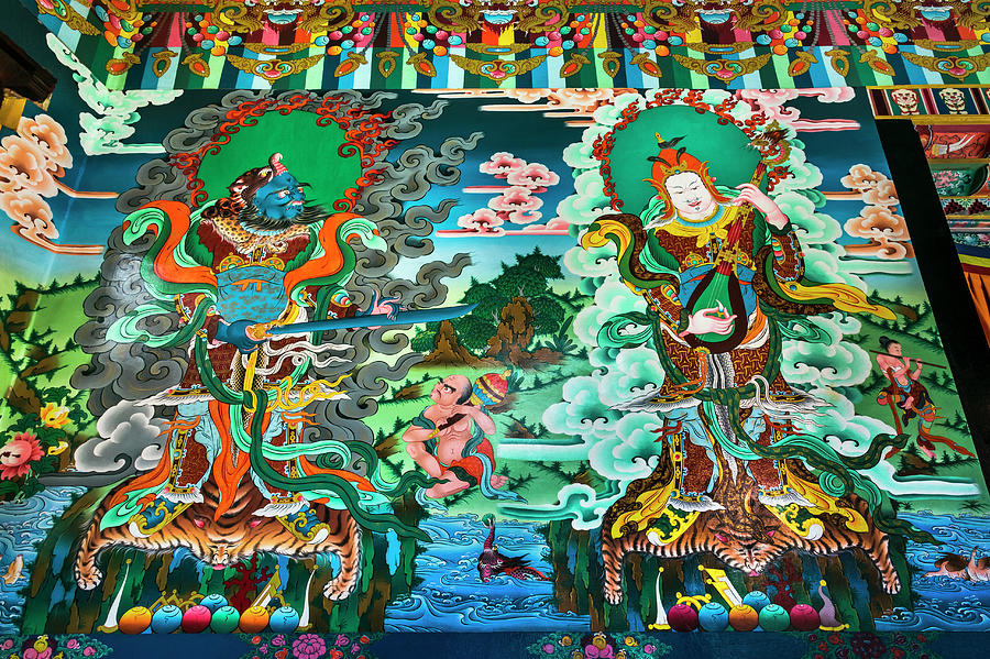 Drikung Kagyu Gompa Monastery, Painted Photograph by Glen Allison