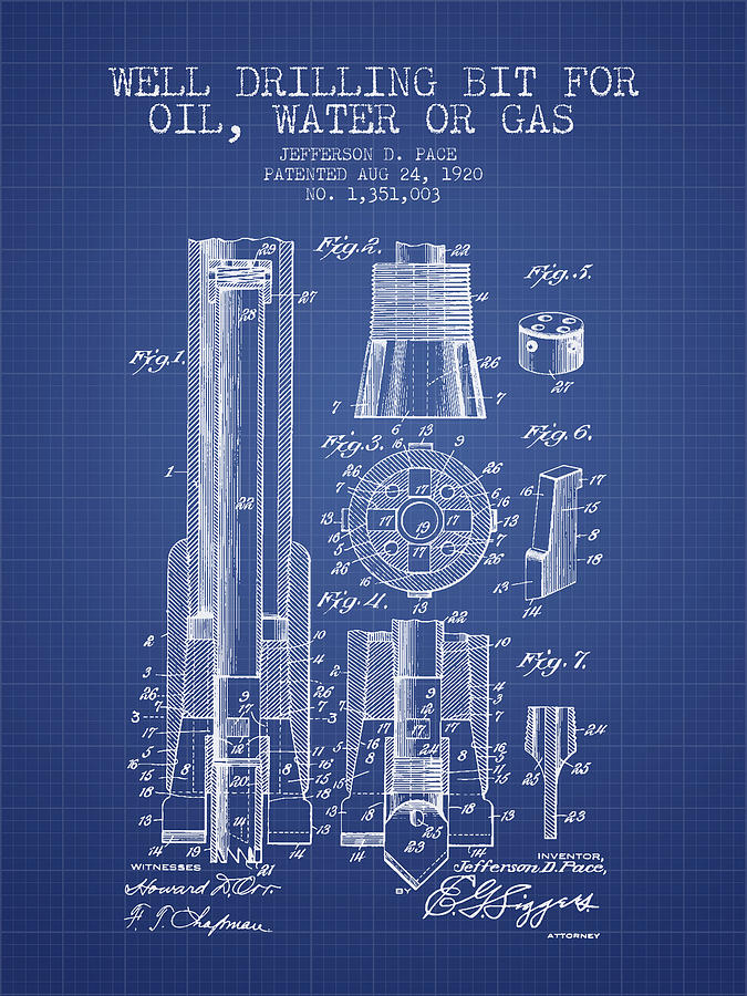 Drilling Bit For Oil Water Gas Patent From 1920