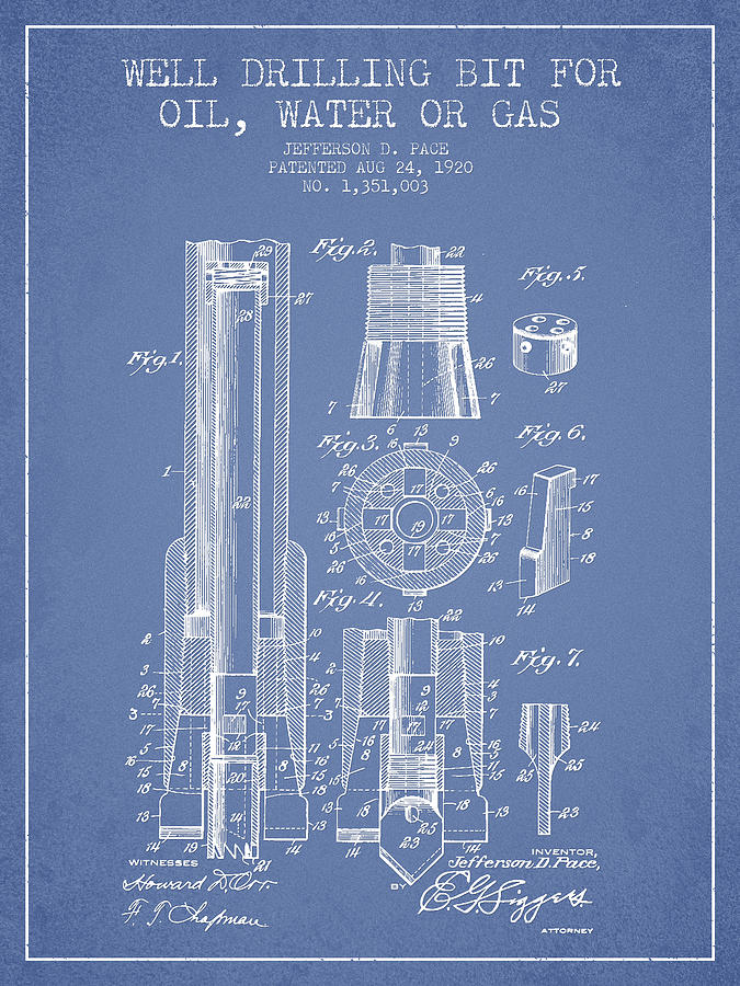 Well Drilling Digital Art - Drilling Bit For Oil Water Gas Patent From 1920 - Light Blue by Aged Pixel