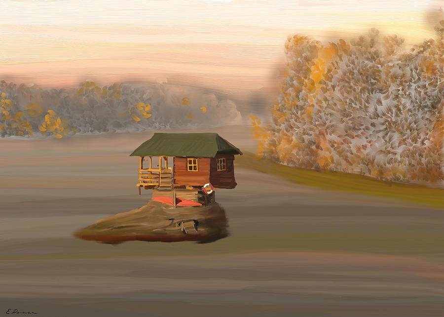 Boat House Painting - Drina House in Morning Mist by Eliza Donovan