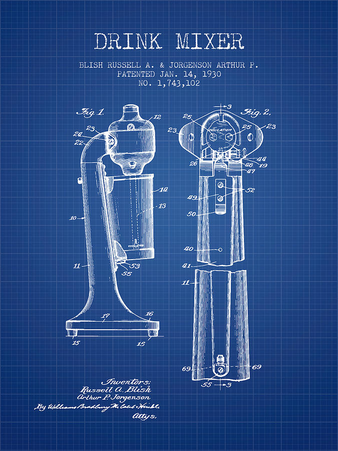Drink mixer patent from 1930 blueprint digital art by aged pixel cocktail shaker digital art drink mixer patent from 1930 blueprint by aged pixel malvernweather Choice Image