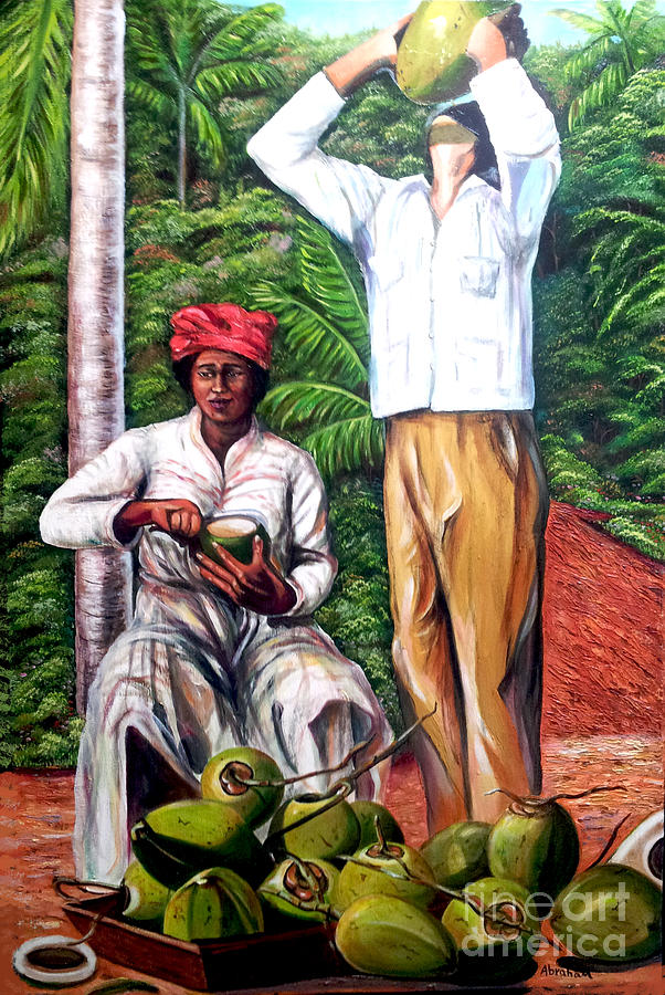 Coconut Painting - Drinking coconut water by Jose Manuel Abraham