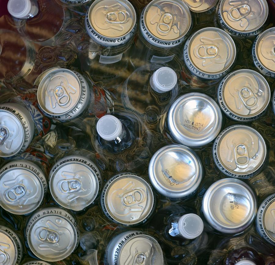 Cans Photograph - Drinks On Ice by Michael Sokalski