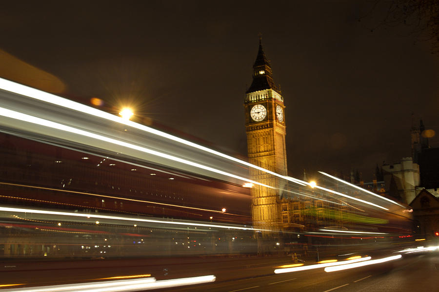 Classic Night Scene Photograph - Drive By Ben - England by Mike McGlothlen
