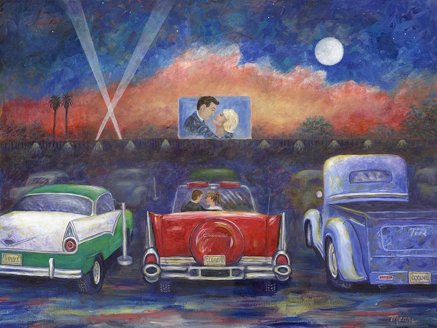 Cars Painting - Drive-in Movie Theater by Linda Mears