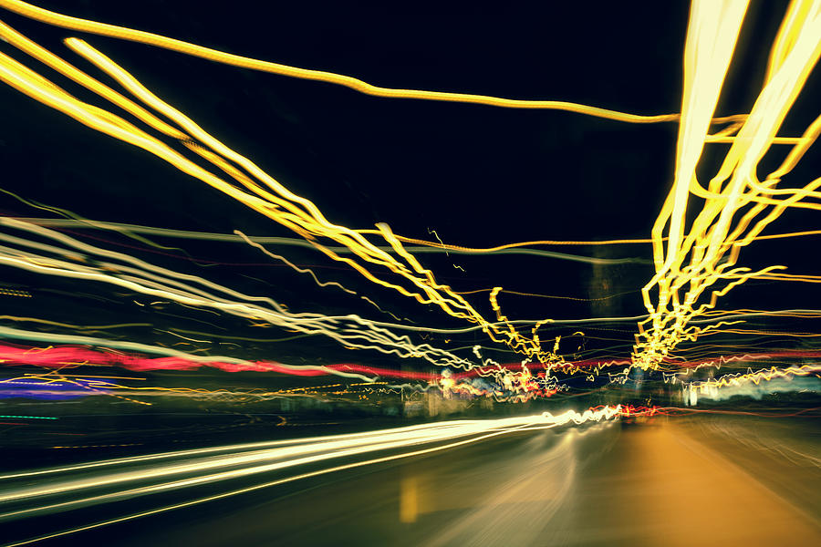 Driving At Night With Abstract City Photograph by 77studio