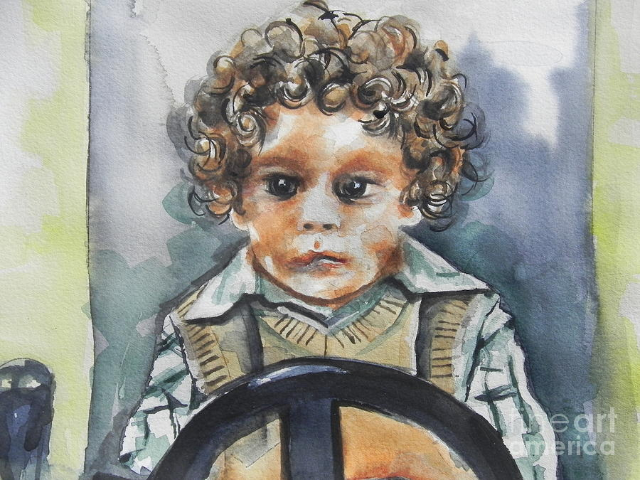 Watercolor Painting Painting - Driving The Taxi by Chrisann Ellis