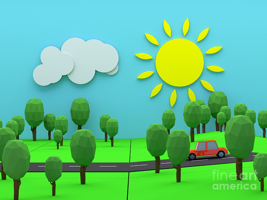 3d Photograph - Driving through countryside by Jan Brons