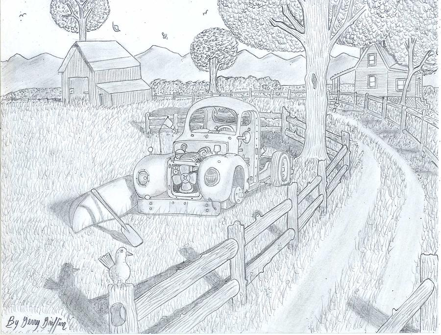 Rustic Barn Drawing - Driving To Jo Bobs Home by Gerald Griffin