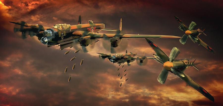 Lancaster Bomber Photograph - Drop Zone by Steven Agius