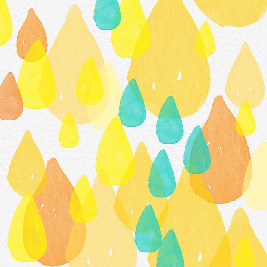 Abstract Painting Painting - Drops Of Sunshine- Abstract Painting by Linda Woods