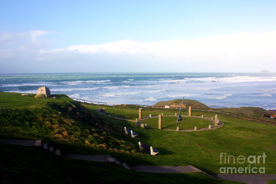 Perranporth Photograph - Droskyn Sundial Perranporth by Terri Waters