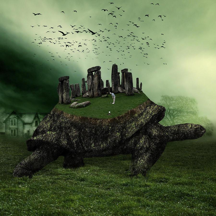 Turtle Digital Art - Druid Golf by Marian Voicu