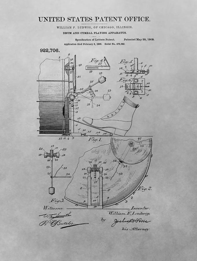 Drum Patent Drawing - Drum And Cymbal Playing Apparatus by Dan Sproul