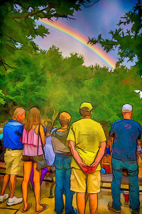 America Mixed Media - Drum Circle Rainbow by John Haldane