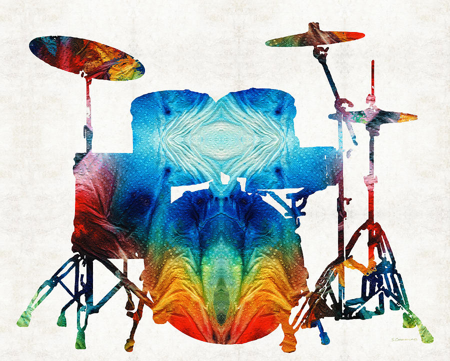 Drum Painting - Drum Set Art - Color Fusion Drums - By Sharon Cummings by Sharon Cummings