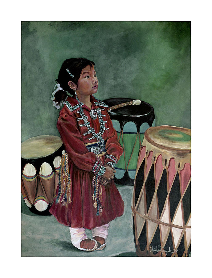Native American Painting - Drummer Girl by Christine Lytwynczuk