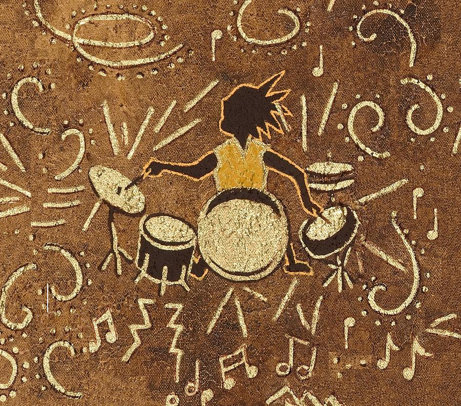Kokopelli Painting - Drummer by Katherine Young-Beck