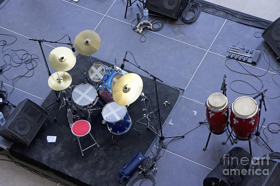 Concert Photograph - Drums Percussion And Monitors On Stage by Sami Sarkis