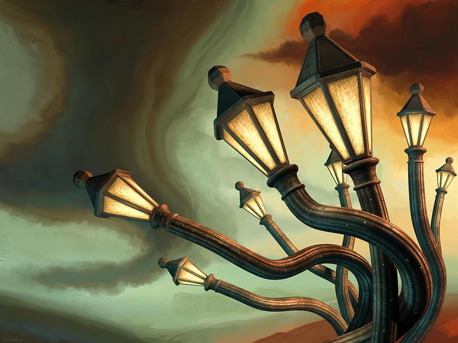 Lamps Digital Art - Drunk Streetlamps by Remus Brailoiu