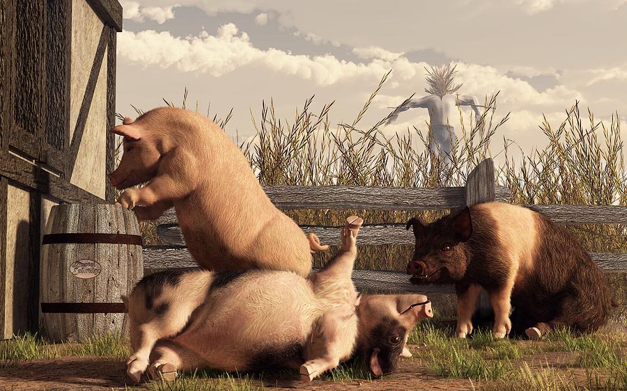 Pig Digital Art - Drunken Pigs by Daniel Eskridge