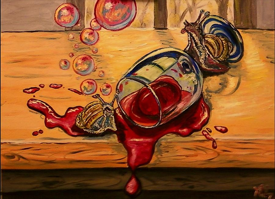 Surrealism Painting - Drunken Snails by Alexandria Weaselwise Busen