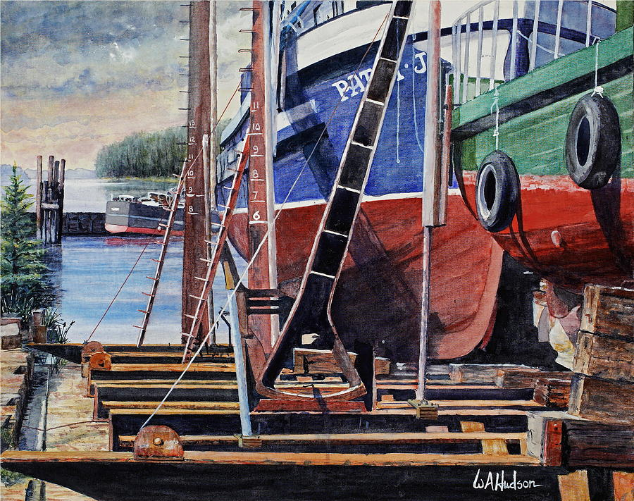 Maritime Painting - Dry Dock by Bill Hudson