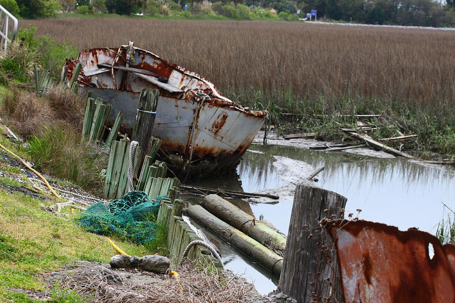 Boat Photograph - Dry Docked by Paula Rountree Bischoff