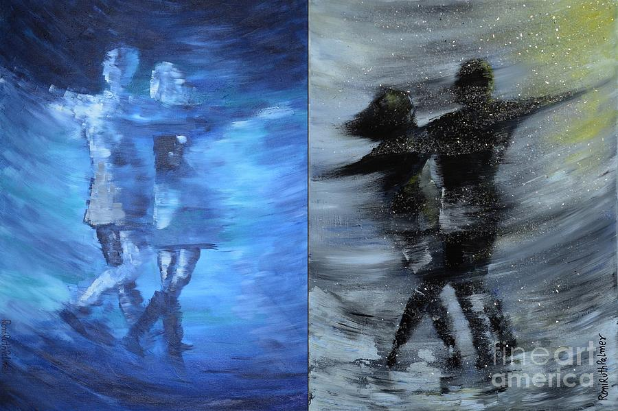 Dance Painting - Dual Dancing In The Rain by Roni Ruth Palmer