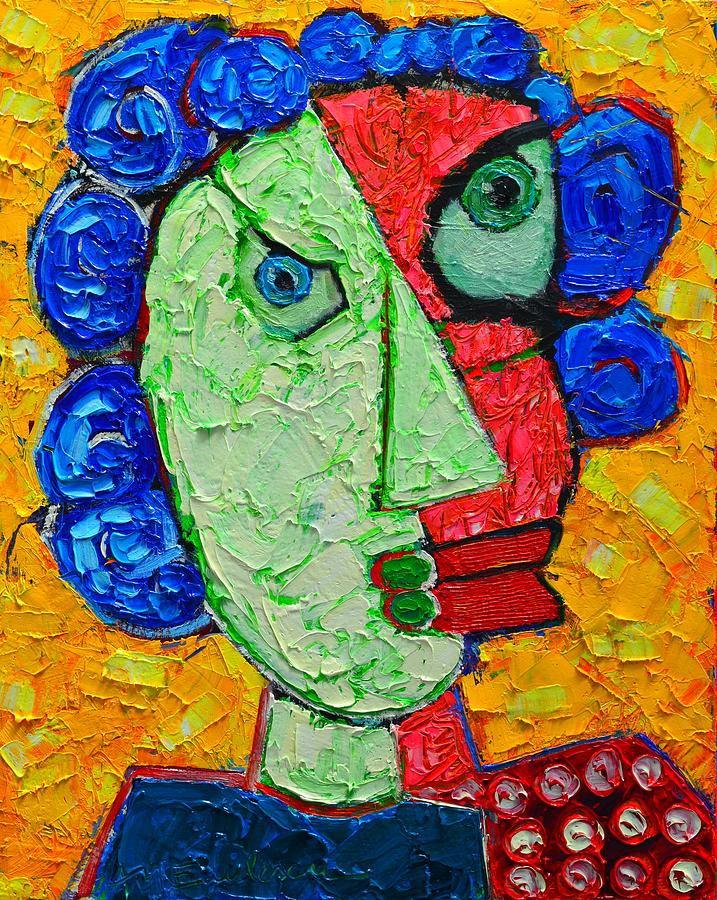 duality in oneness abstract expressionist portrait painting by ana