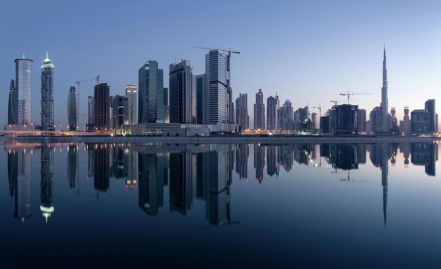 Dubai Business Bay Skyline With Photograph by Spreephoto.de
